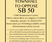 South LA Town Hall to Oppose SB 50