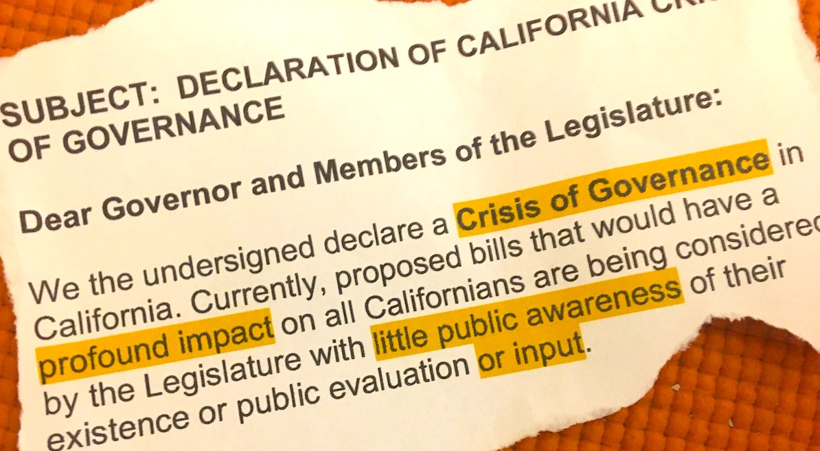 Declaration of California Crisis of Governance